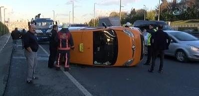 E-5 Edirnekapı mevkiinde taksi takla attı!