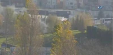 TEM Otoyolu Otogar bağlantı yolunda bir otobüste yangın çıktı