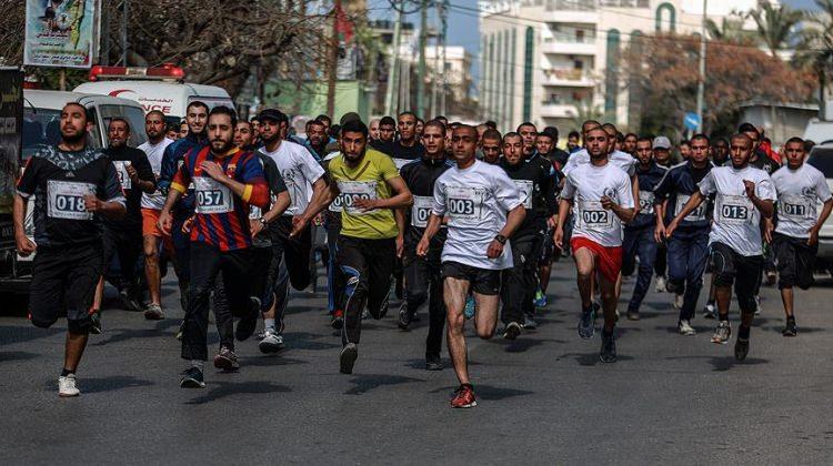 İsrail'in tutukladığı Filistinlilere destek koşusu