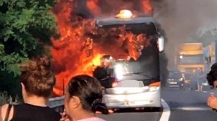 Tekirdağ'da otobüste yangın çıktı