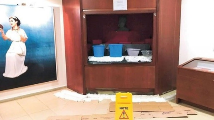 Tepki çeken görüntü: Müzede leğen ve çöp kovası