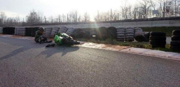 Milli motosikletçi  antremanda yaralandı
