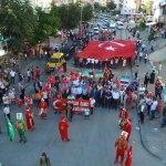 Terör olaylarını protesto yürüyüşü