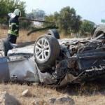 Takla atan otomobilde 6 kişi yaralandı