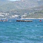 Bodrum'da demirli tekne battı