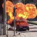 LPG'li araç bomba gibi patladı!