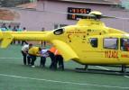 Maç sırasında sahaya helikopter indi