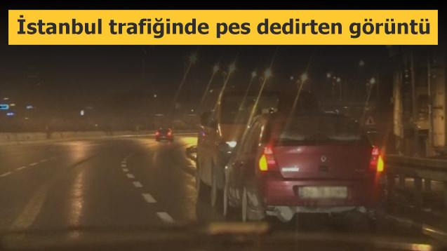 İstanbul trafiğinde pes dedirten görüntü