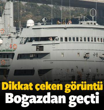 Rus savaş gemisi boğazdan geçiş yaptı