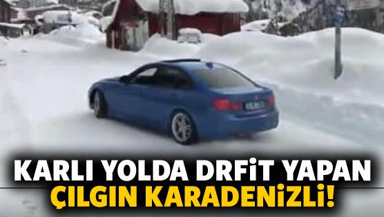Karlı yolda drift yapan çılgın Karadenizli!