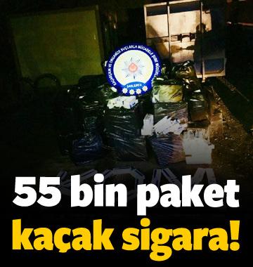 Şanlıurfa'da 55 bin paket kaçak sigara yakalandı